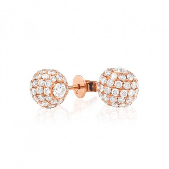 Diamond stud ball earrings