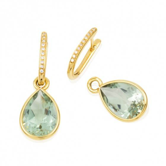 Green quartz and diamonds drop earrings