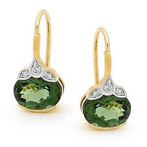 Green tourmaline & diamond earrings