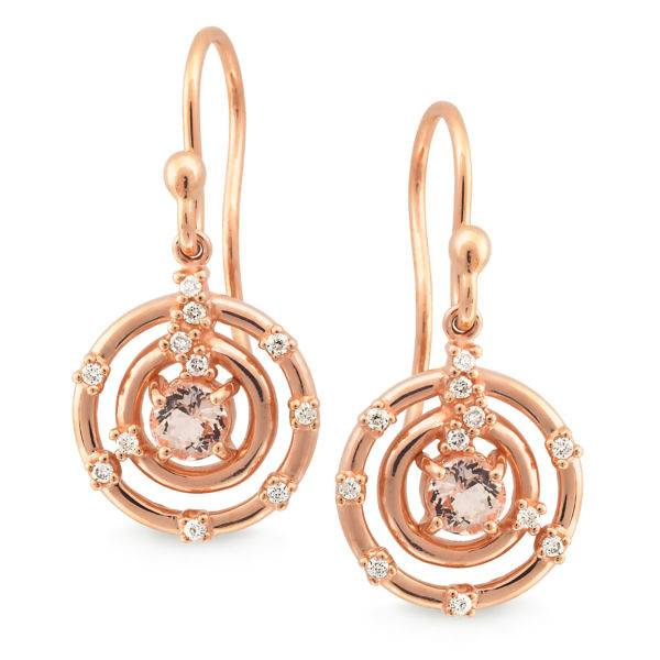 Morganite drop and diamond earrings