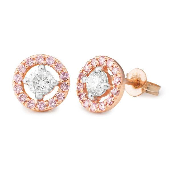 Pink diamond halo stud earrings