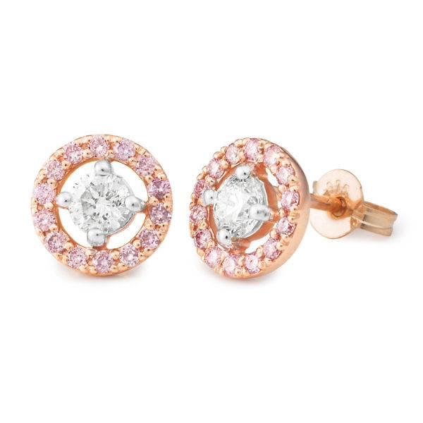 Pink diamond halo stud earrings