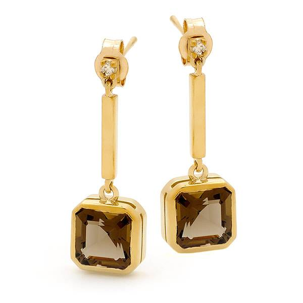 Smokey quartz & diamond earrings