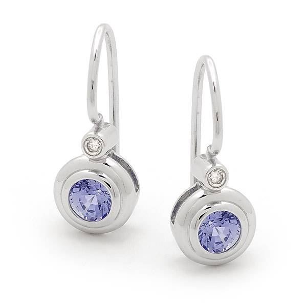 Ceylon sapphire & diamond earrings