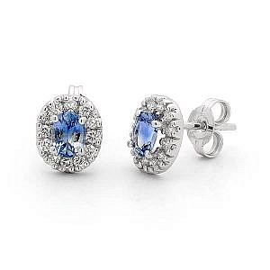 Ceylon sapphire and diamond earrings