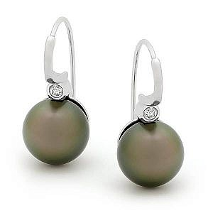 Black pearl & diamond earrings