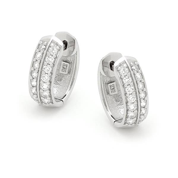 Diamond double row hoop earrings