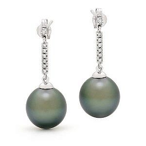Black pearl & diamond drop earrings