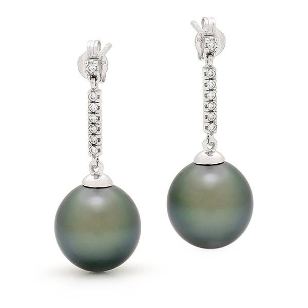 Black pearl & diamond drop earrings