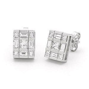 Princess & baguette cut diamond earrings
