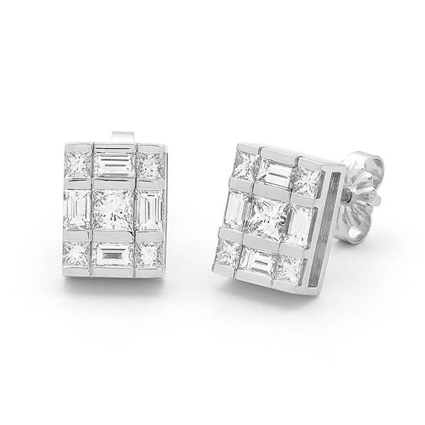 Princess & baguette cut diamond earrings