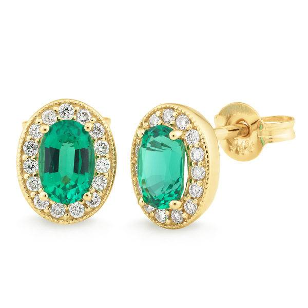 Biron emerald & diamond stud earrings