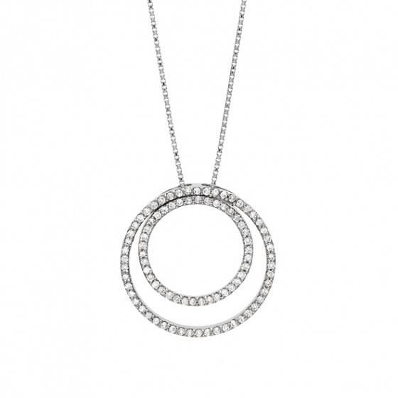 Diamond double circle pendant