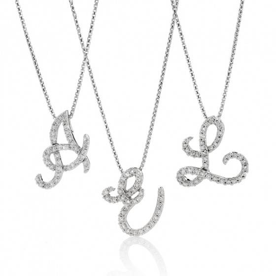 Mazzone diamond initial pendants