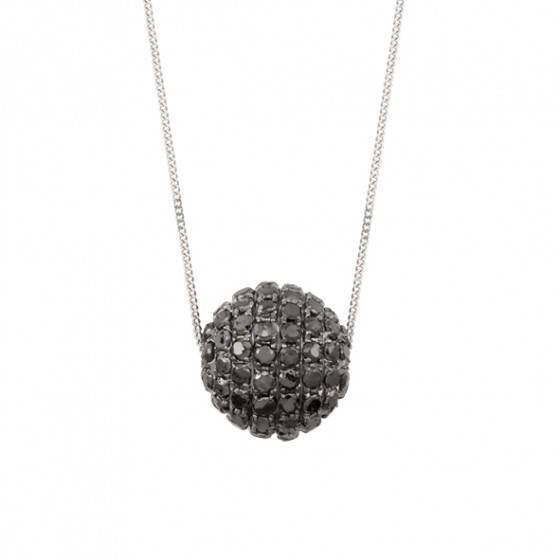 Black diamond ball pendant