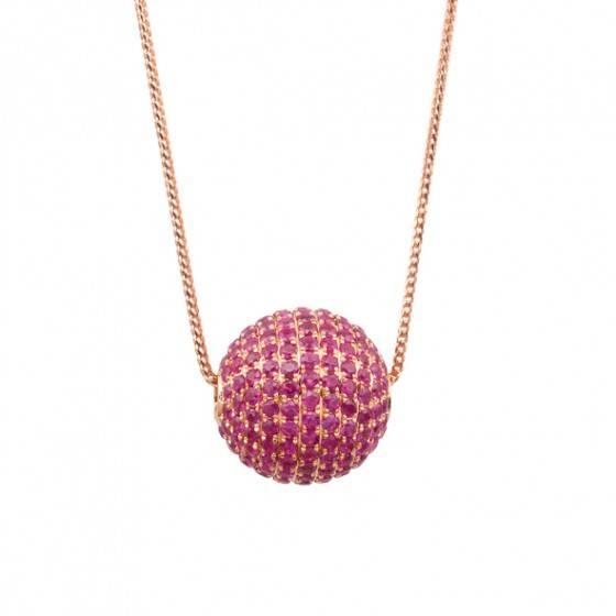 Pink sapphire ball pendant
