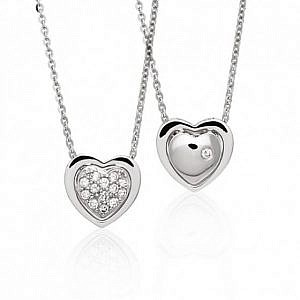 Diamond heart reversible pendant