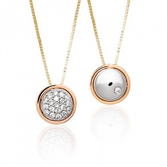 Diamond round reversible pendant