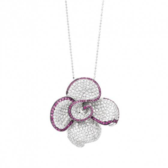 Ruby & diamond flower pendant