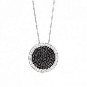 Black & white diamond pave set pendant