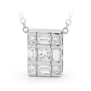 Princess & baguette cut diamond pendant