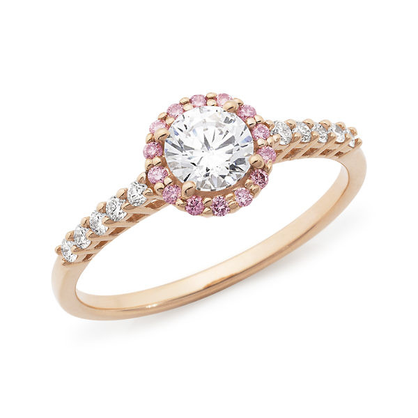 Rose brilliant cut pink & white diamond halo ring