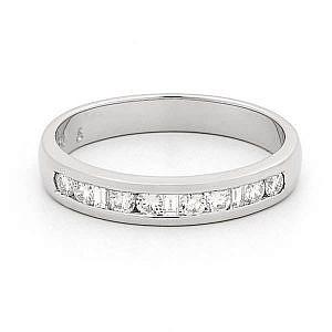 Princess & brilliant cut diamond channel set wedding ring