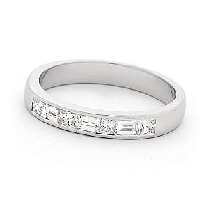 Baguette & princess cut diamond channel set wedding ring