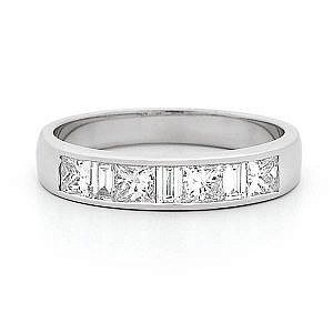 Princess & baguette cut diamond channel set wedding ring