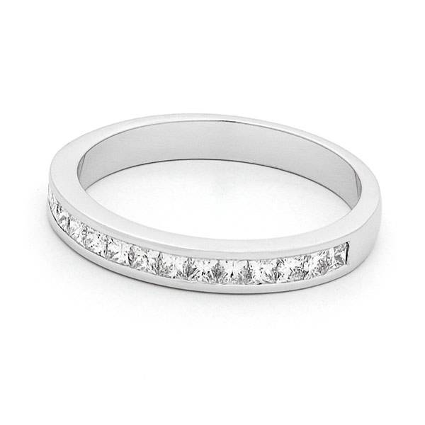 Princess cut diamond channel set wedding ring