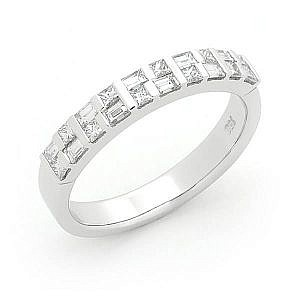 Baguette & princess cut diamond double row bar set wedding ring