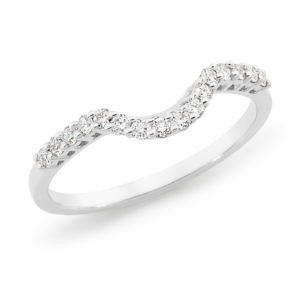 Brilliant cut diamond claw set curved wedding ring