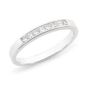 Princess cut diamond channel set wedding ring