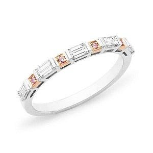 Brilliant cut pink & baguette cut white diamond bar set wedding ring