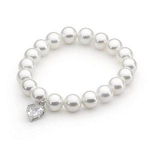 Ellani shell pearl & cubic zirconia bracelet