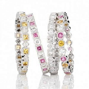 Sapphire & diamond stackable rings