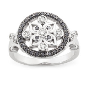 Vintage black & white diamond ring