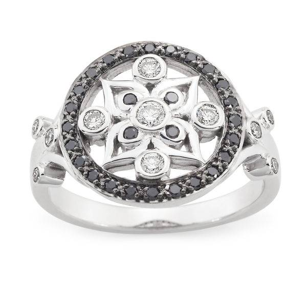 Vintage black & white diamond ring