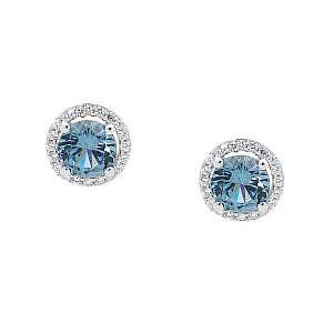 Ellani blue & white cubic zirconia stud earrings