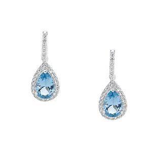 Ellani blue & white cubic zirconia drop earrings