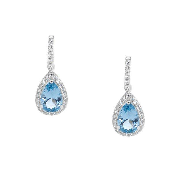 Ellani blue & white cubic zirconia drop earrings