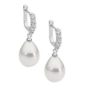 Ellani shell pearl & cubic zirconia earrings