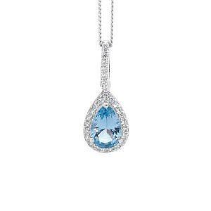 Ellani blue & white cubic zirconia drop pendant