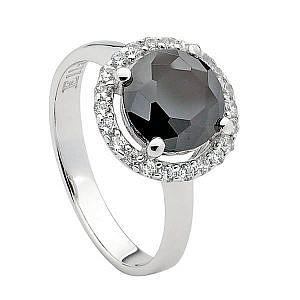 Ellani black & white cubic zirconia ring