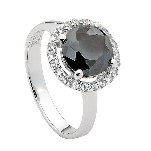 Ellani black & white cubic zirconia ring