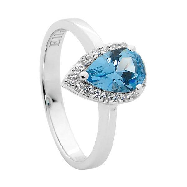 Ellani blue & white cubic zirconia ring