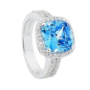 Ellani blue & white cubic zirconia ring