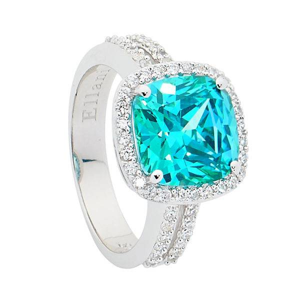 Ellani mint & white cubic zirconia ring