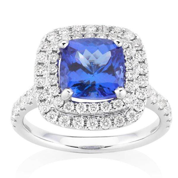 Tanzanite & double halo diamond ring