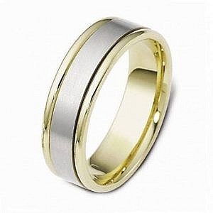 Mazzone two tone wedding ring